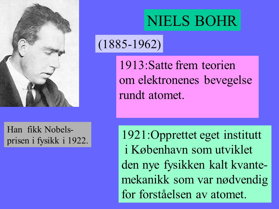 NIELS BOHR (1885-1962) 1913:Satte frem teorien