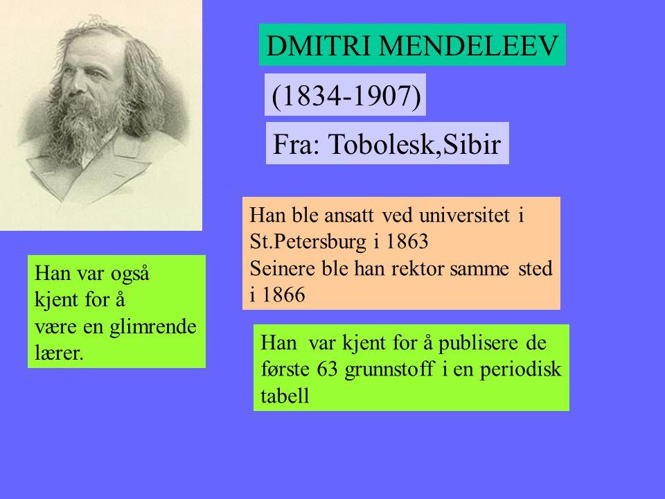 DMITRI MENDELEEV (1834-1907) Fra: Tobolesk,Sibir