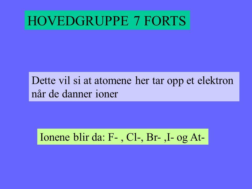 HOVEDGRUPPE 7 FORTS Dette vil si at atomene her tar opp et elektron