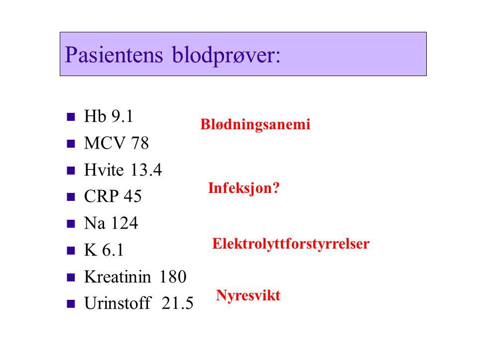 Pasientens blodprøver:
