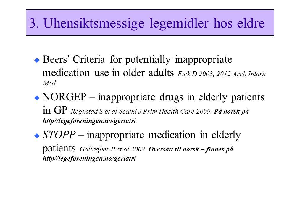 3. Uhensiktsmessige legemidler hos eldre