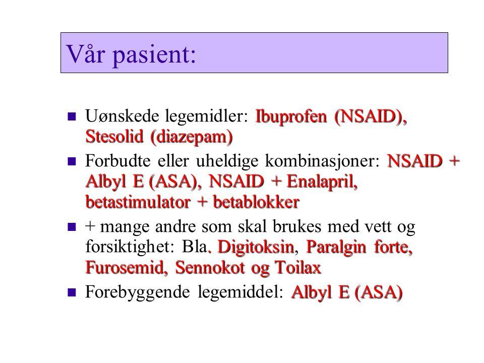 Vår pasient: Uønskede legemidler: Ibuprofen (NSAID), Stesolid (diazepam)