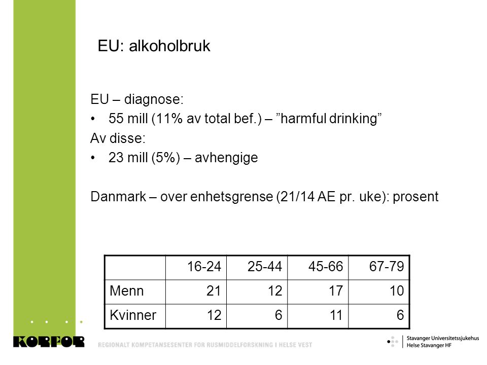 EU: alkoholbruk EU – diagnose: