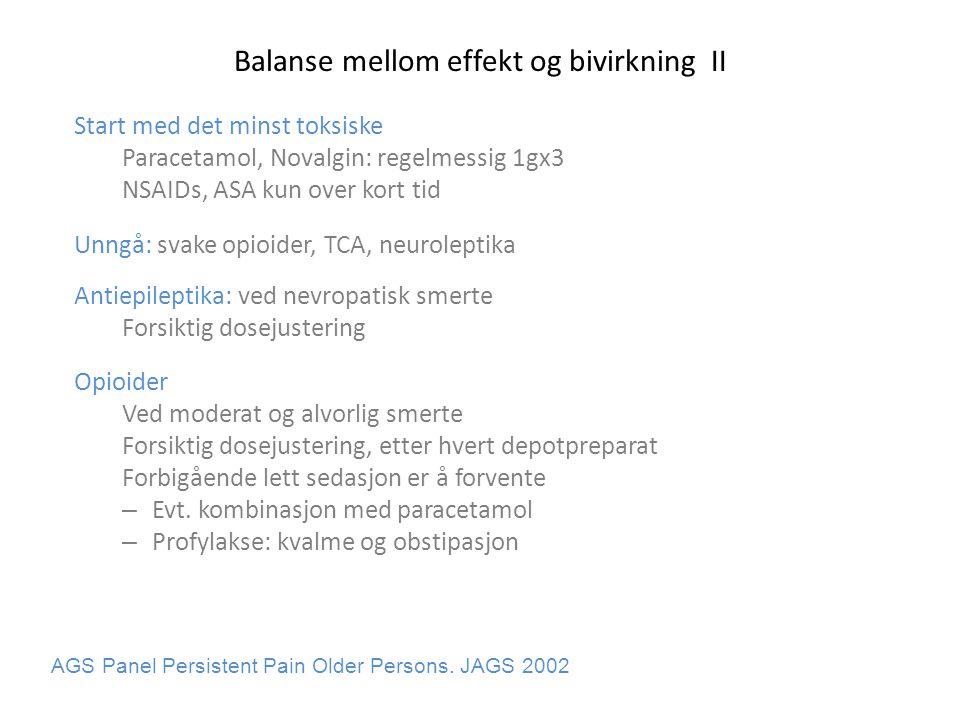 Balanse mellom effekt og bivirkning II