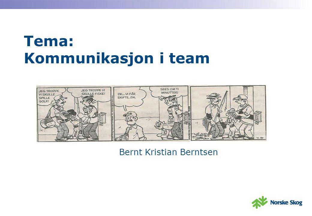 Tema: Kommunikasjon i team