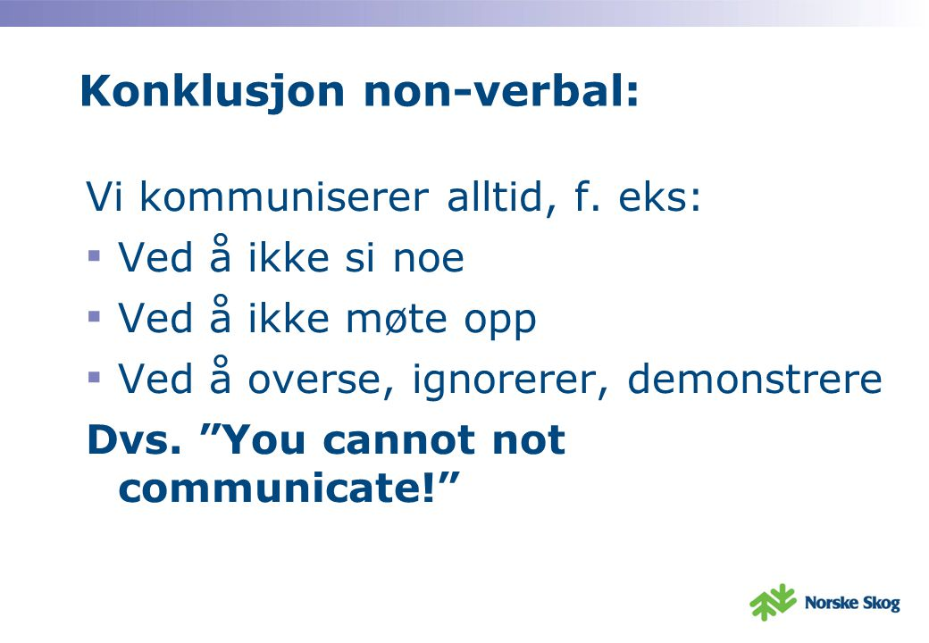 Konklusjon non-verbal: