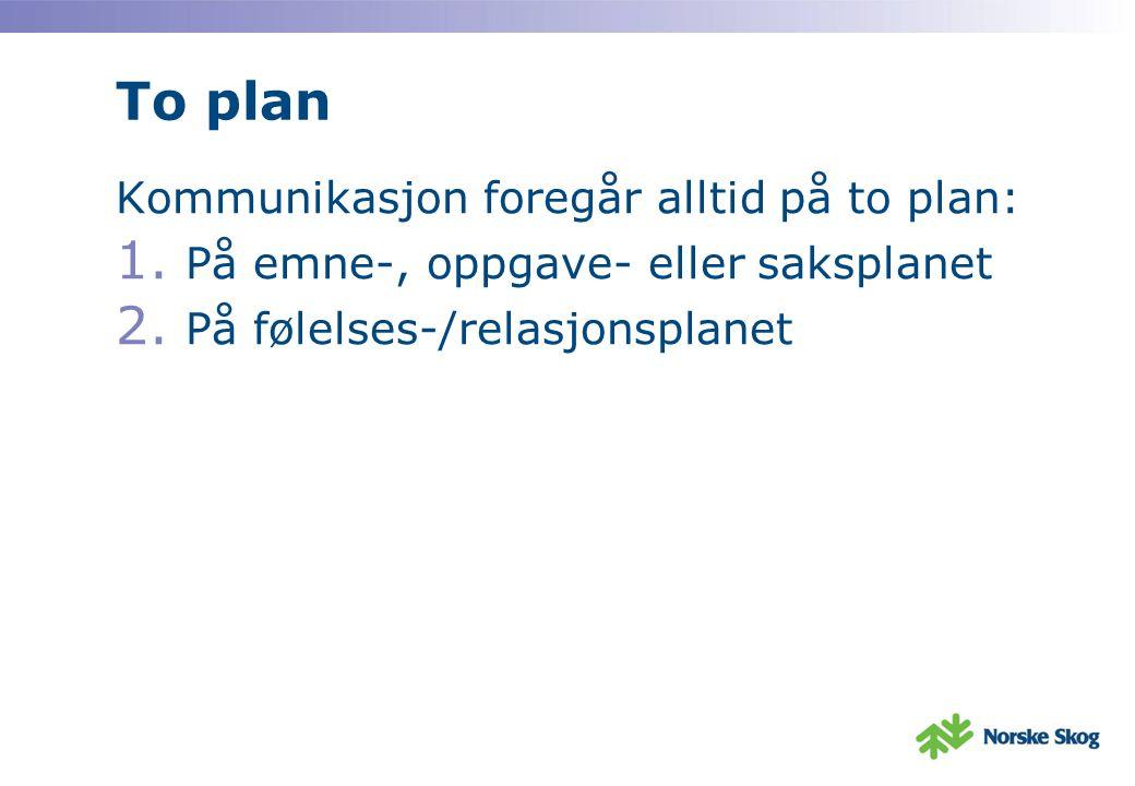 To plan Kommunikasjon foregår alltid på to plan: