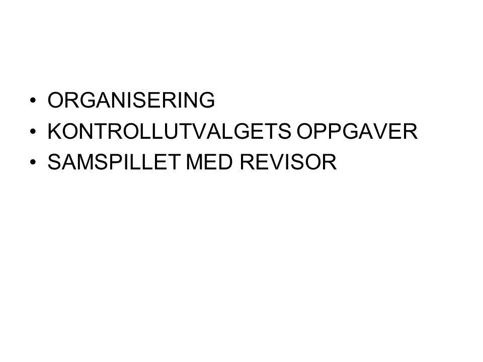 ORGANISERING KONTROLLUTVALGETS OPPGAVER SAMSPILLET MED REVISOR