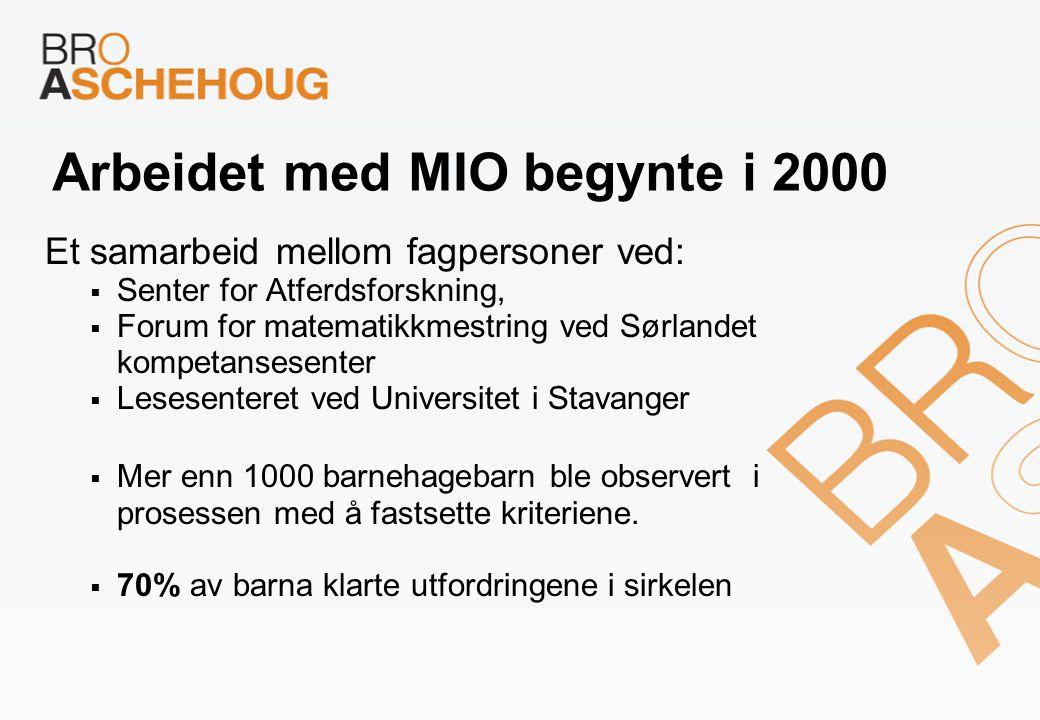 Arbeidet med MIO begynte i 2000