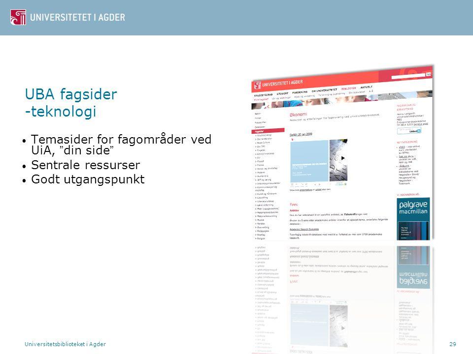 UBA fagsider -teknologi