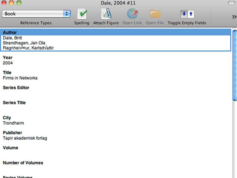Endnote - skjermdumper