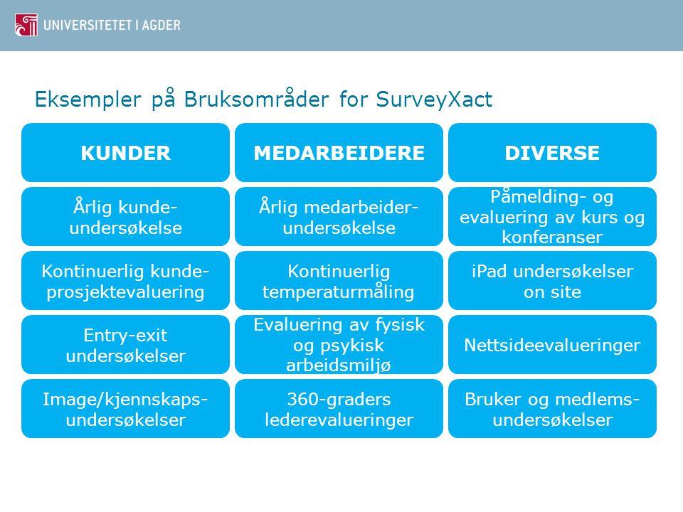 Eksempler på Bruksområder for SurveyXact
