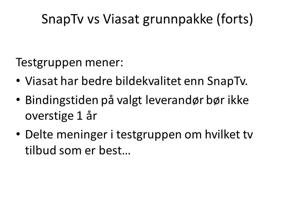 SnapTv vs Viasat grunnpakke (forts)