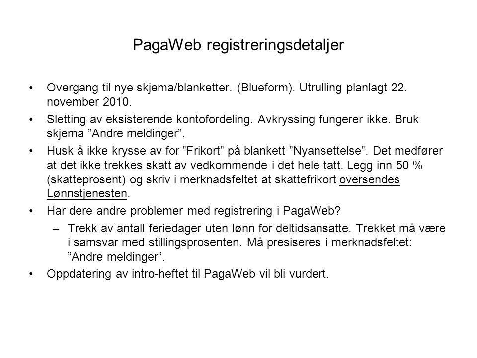 PagaWeb registreringsdetaljer