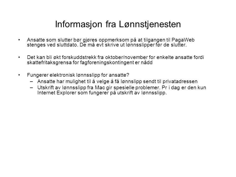 Informasjon fra Lønnstjenesten