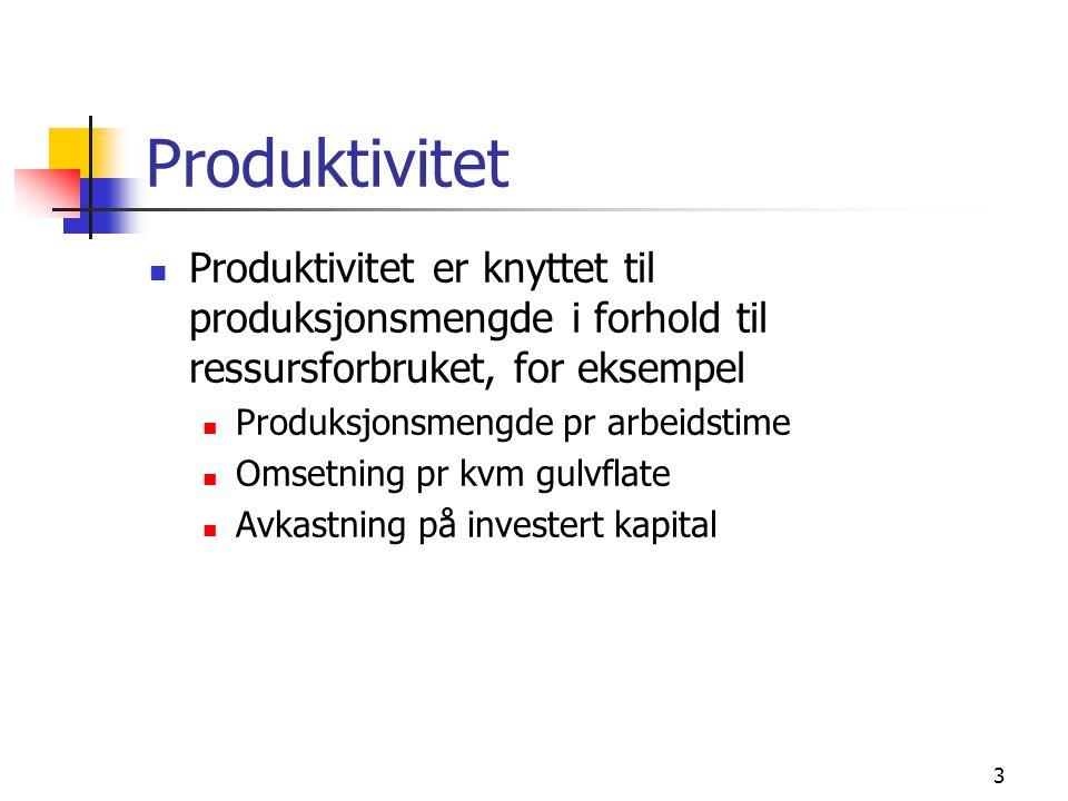 Produktivitet Produktivitet er knyttet til produksjonsmengde i forhold til ressursforbruket, for eksempel.