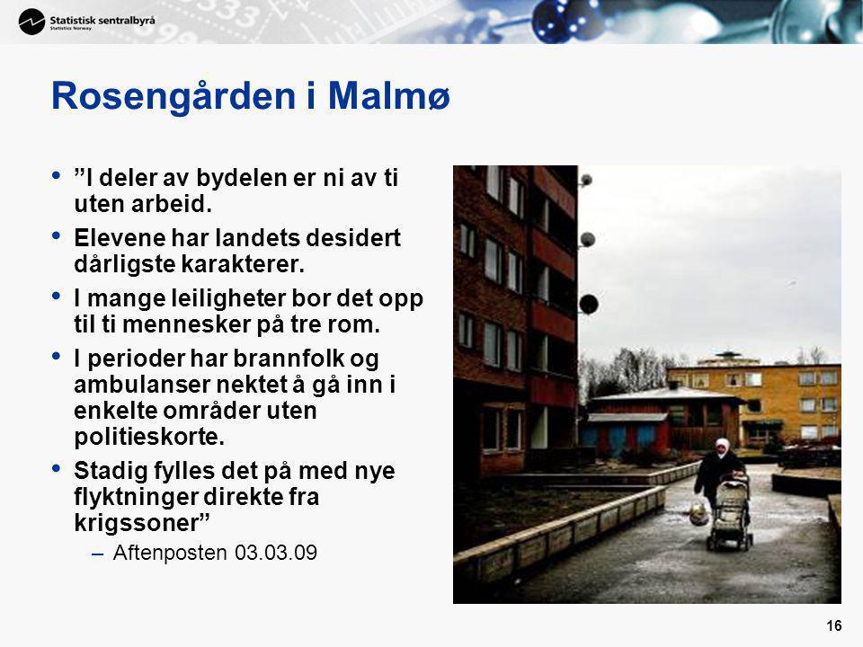 Rosengården i Malmø I deler av bydelen er ni av ti uten arbeid.