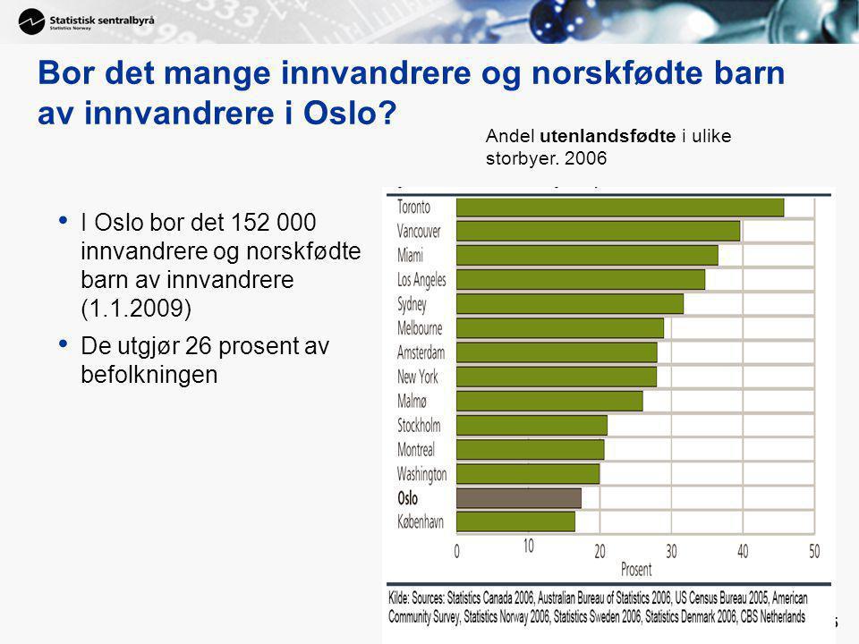 Bor det mange innvandrere og norskfødte barn av innvandrere i Oslo