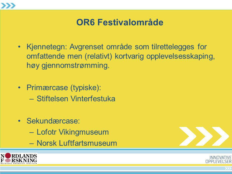 OR6 Festivalområde Kjennetegn: Avgrenset område som tilrettelegges for omfattende men (relativt) kortvarig opplevelsesskaping, høy gjennomstrømming.