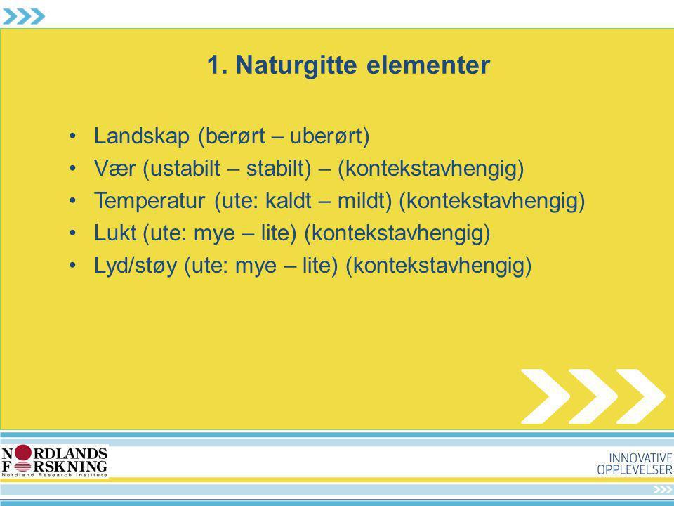 1. Naturgitte elementer Landskap (berørt – uberørt)