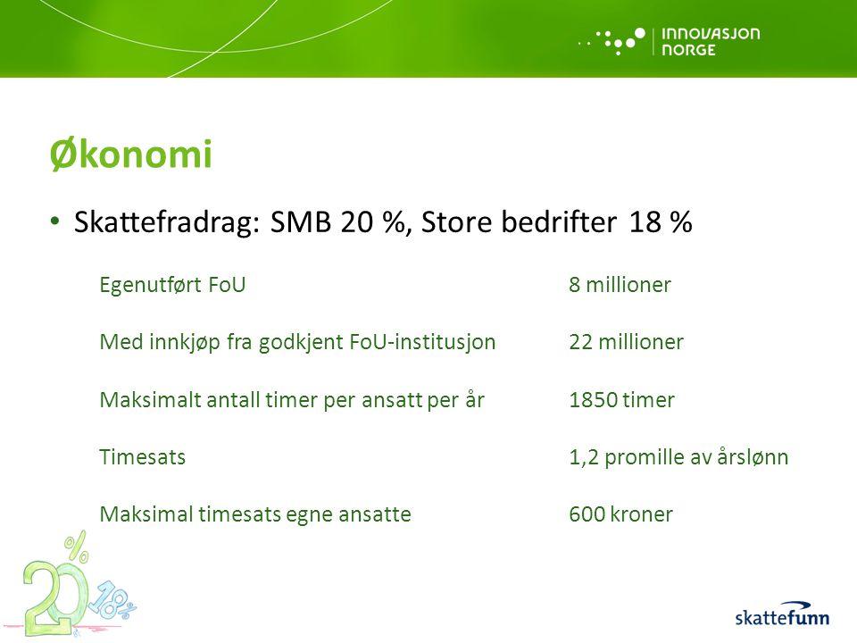 Økonomi Skattefradrag: SMB 20 %, Store bedrifter 18 % Egenutført FoU