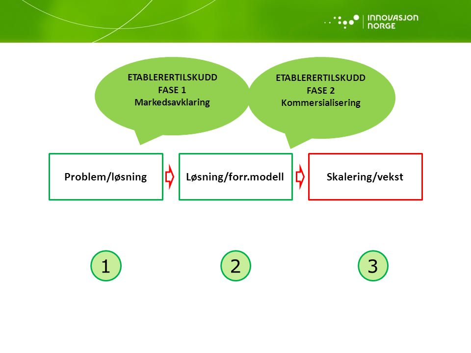 1 2 3 Problem/løsning Løsning/forr.modell Skalering/vekst