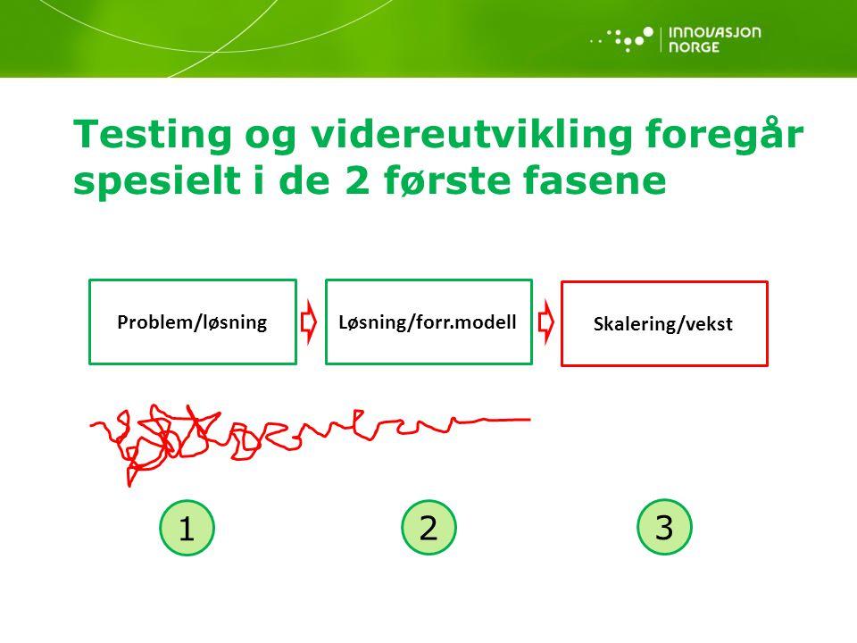 Testing og videreutvikling foregår spesielt i de 2 første fasene