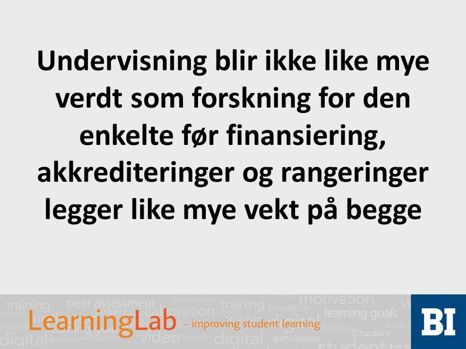 Undervisning blir ikke like mye verdt som forskning for den enkelte før finansiering, akkrediteringer og rangeringer legger like mye vekt på begge
