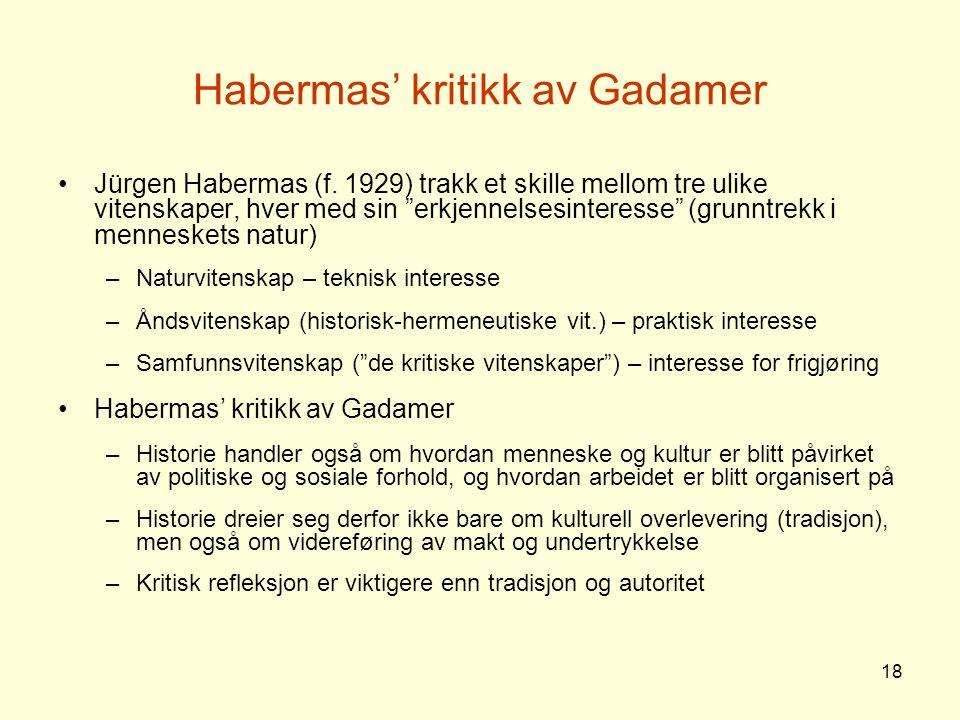 Habermas' kritikk av Gadamer