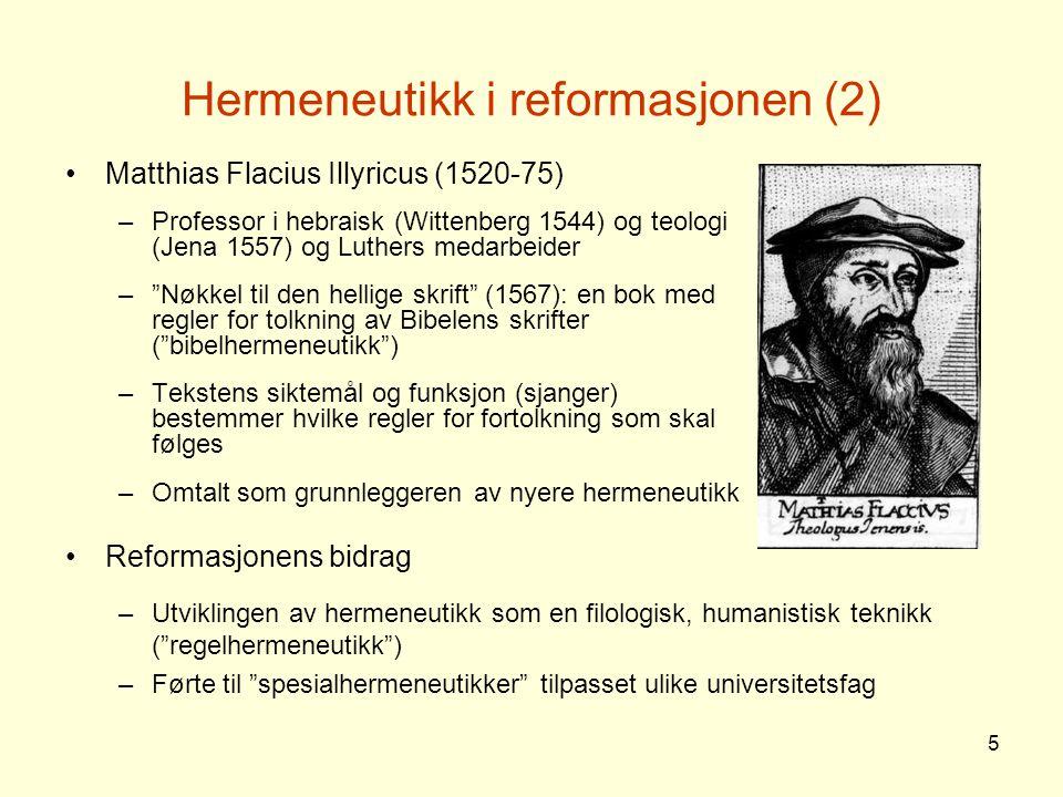 Hermeneutikk i reformasjonen (2)