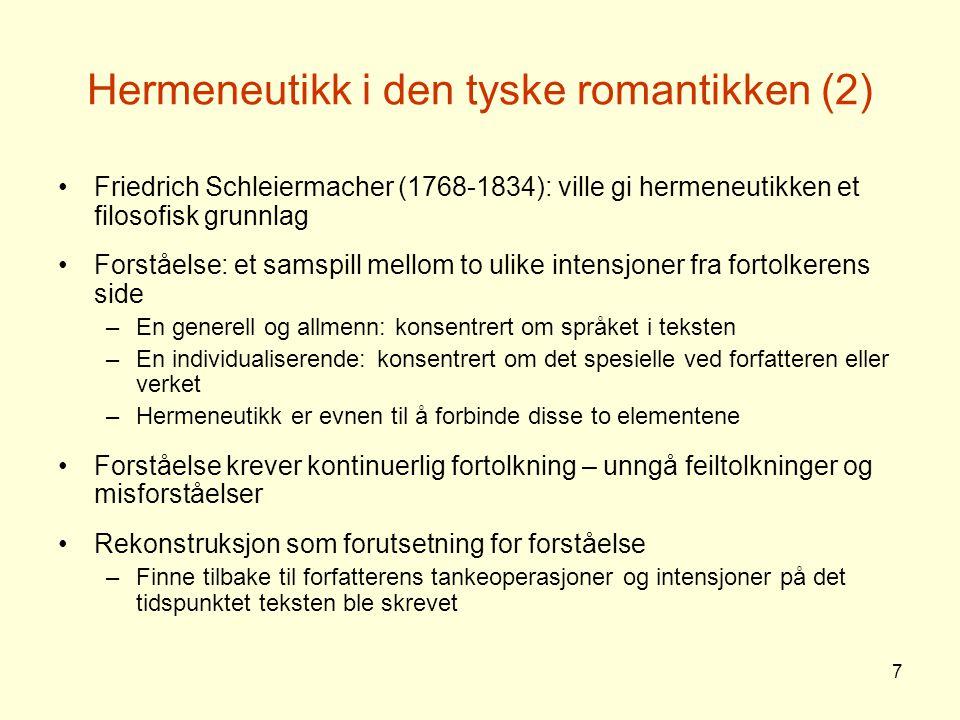 Hermeneutikk i den tyske romantikken (2)