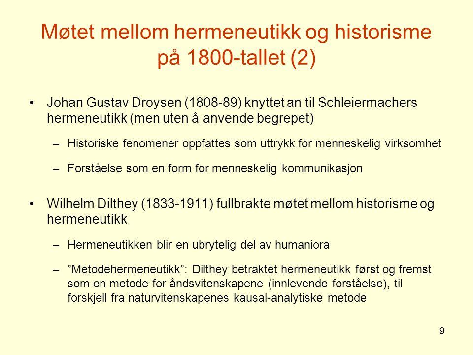 Møtet mellom hermeneutikk og historisme på 1800-tallet (2)