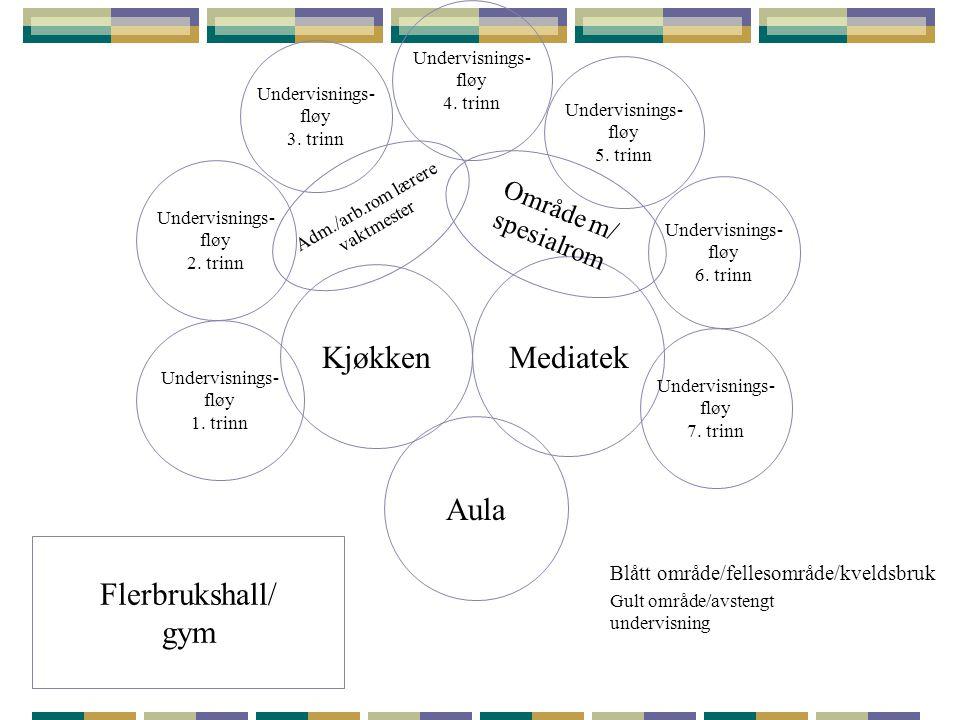Mediatek Kjøkken Aula Flerbrukshall/ gym Område m/ spesialrom
