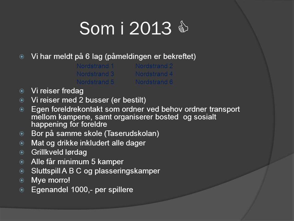 Som i 2013  Vi har meldt på 6 lag (påmeldingen er bekreftet)