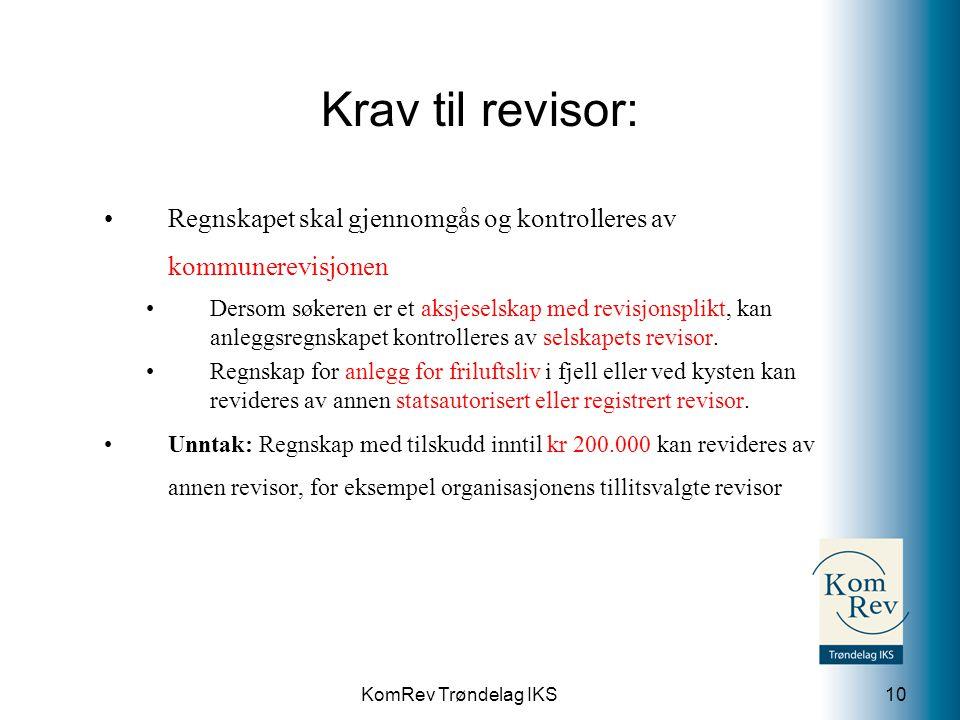 Krav til revisor: Regnskapet skal gjennomgås og kontrolleres av kommunerevisjonen.