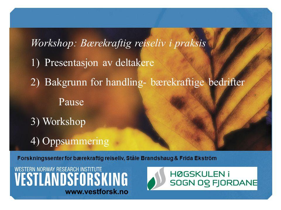 Workshop: Bærekraftig reiseliv i praksis Presentasjon av deltakere