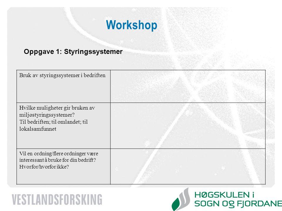 Workshop Oppgave 1: Styringssystemer