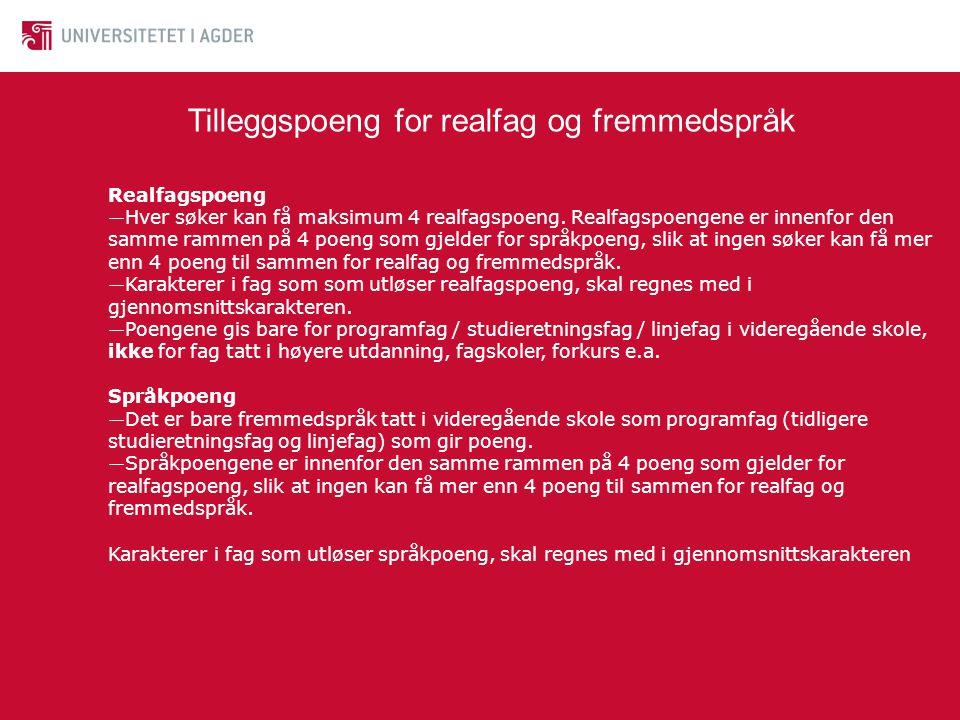 Tilleggspoeng for realfag og fremmedspråk