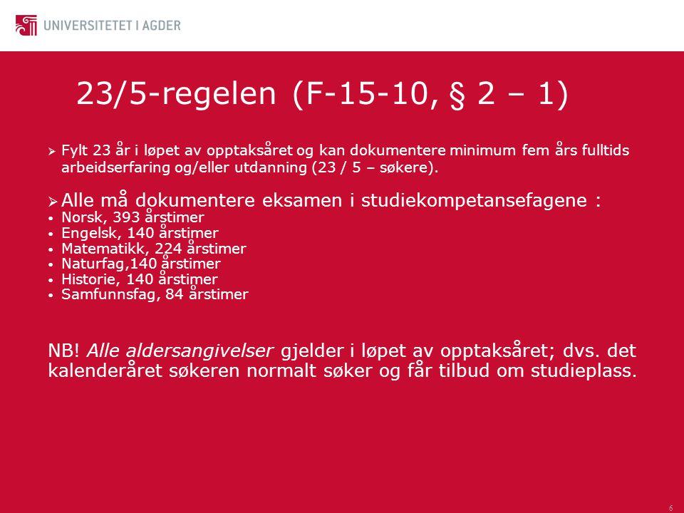 23/5-regelen (F-15-10, § 2 – 1)