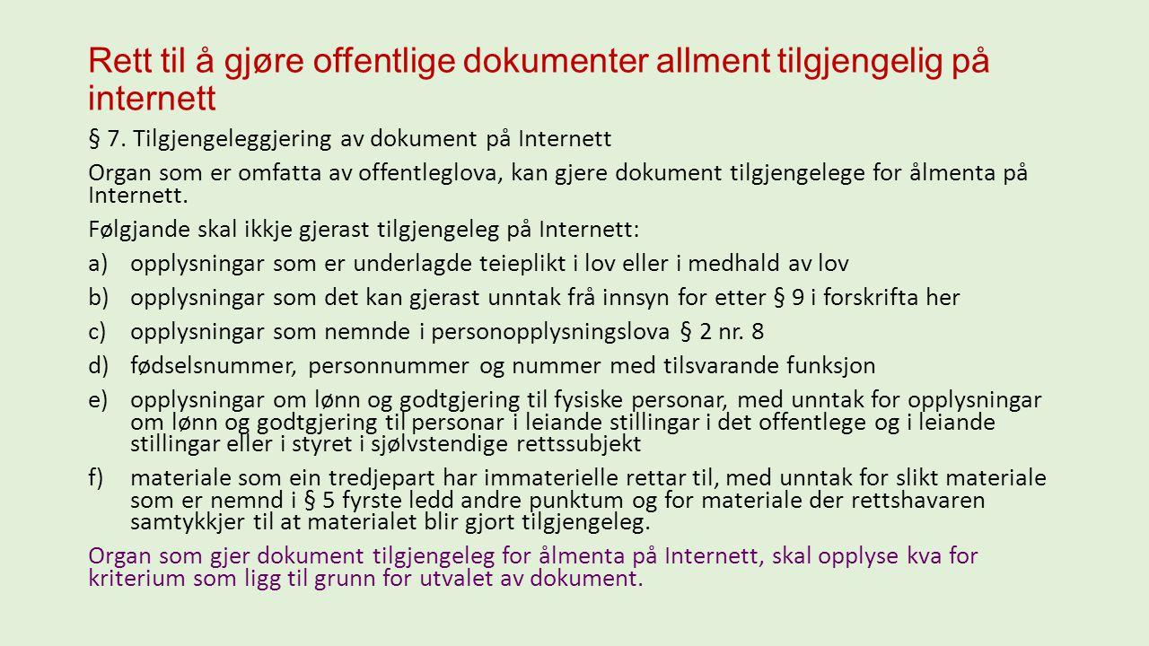 Rett til å gjøre offentlige dokumenter allment tilgjengelig på internett