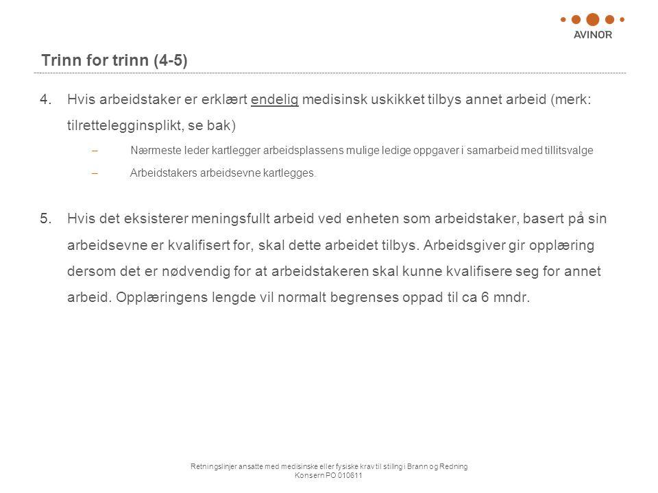 Trinn for trinn (4-5) Hvis arbeidstaker er erklært endelig medisinsk uskikket tilbys annet arbeid (merk: tilrettelegginsplikt, se bak)
