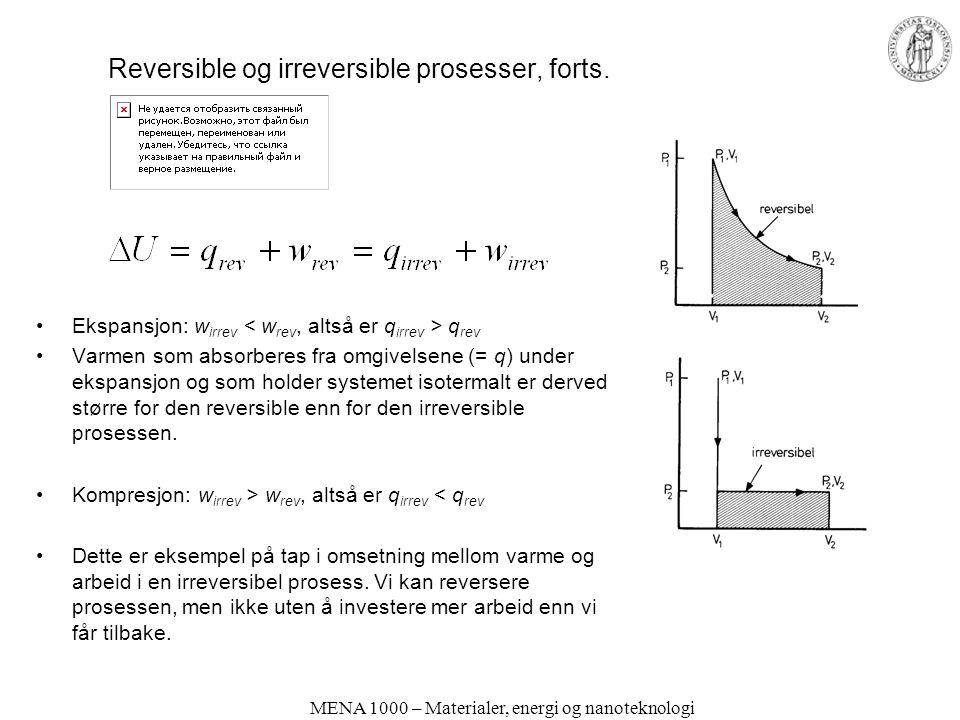 Reversible og irreversible prosesser, forts.