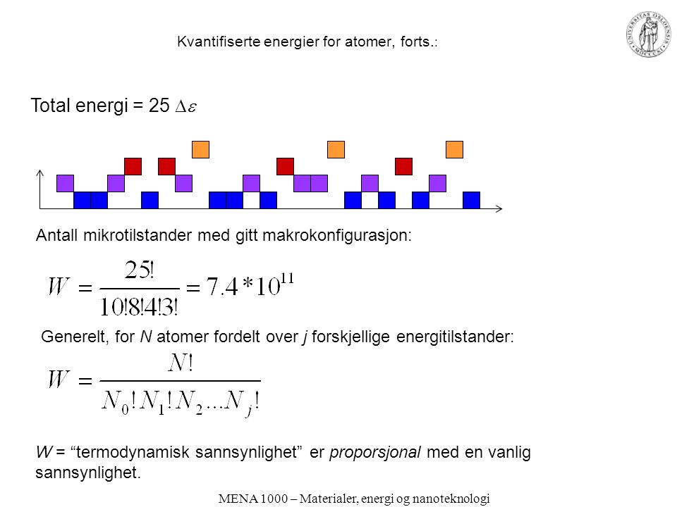 Kvantifiserte energier for atomer, forts.: