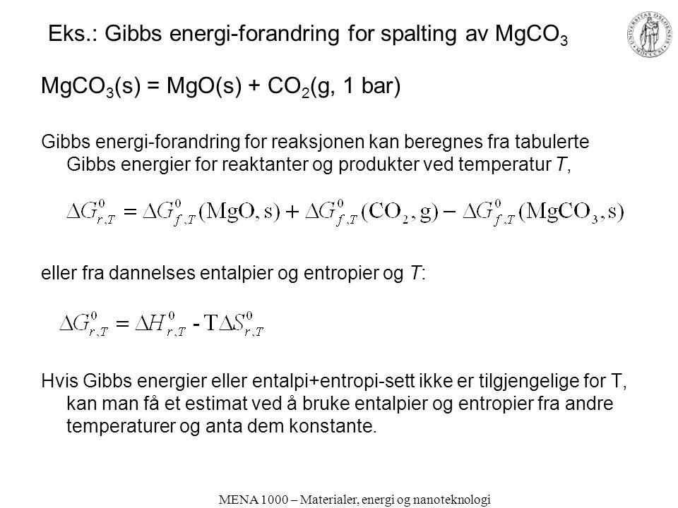 Eks.: Gibbs energi-forandring for spalting av MgCO3