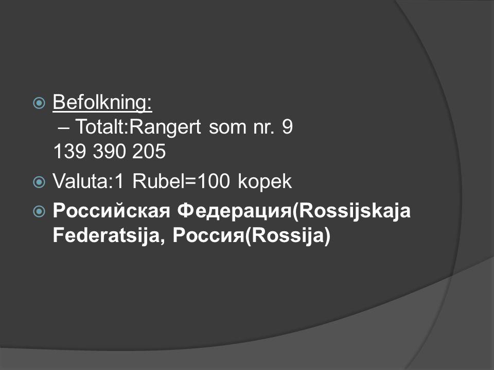 Befolkning: – Totalt:Rangert som nr. 9 139 390 205