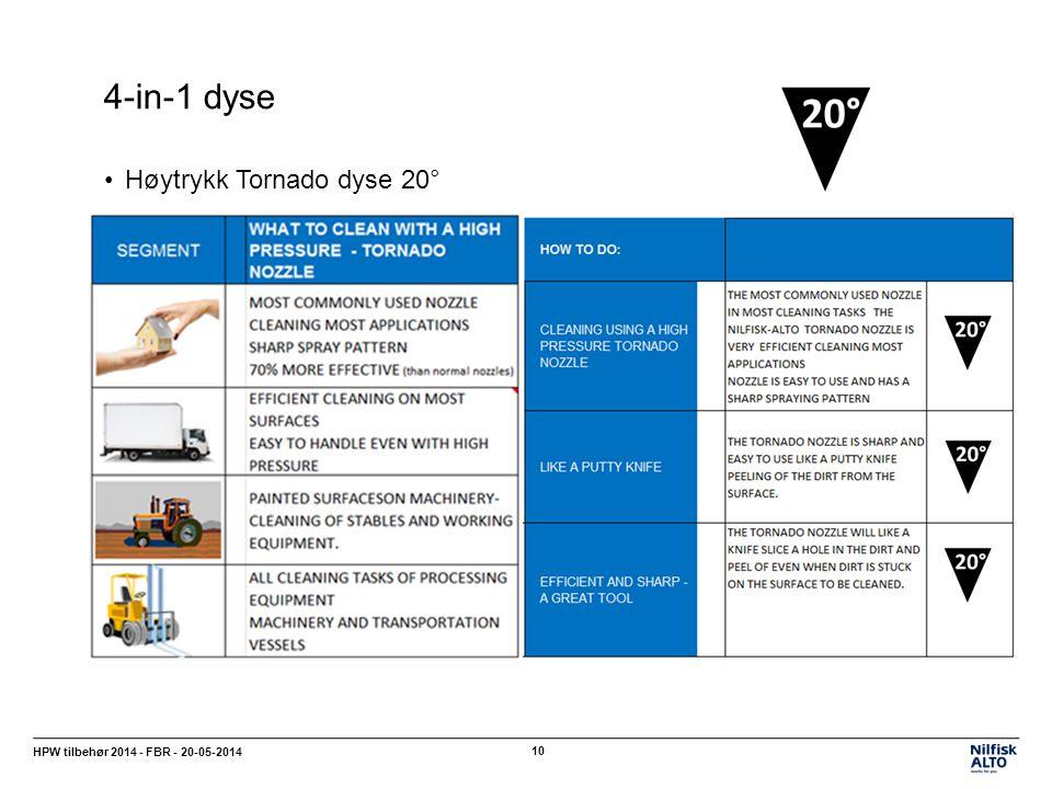 4-in-1 dyse Høytrykk Tornado dyse 20°