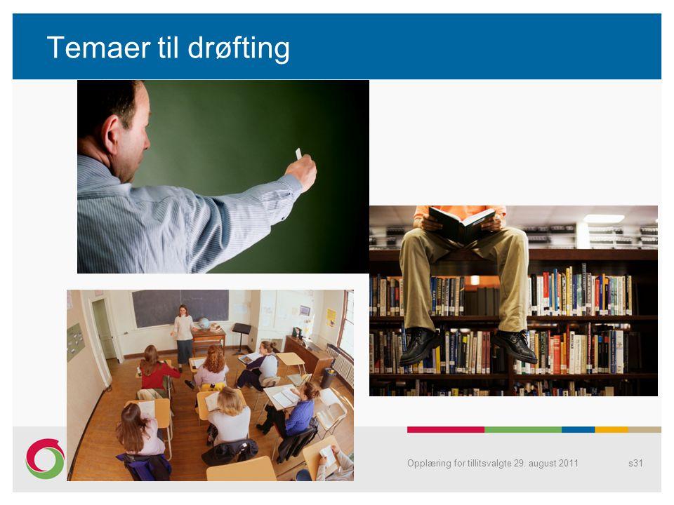 Temaer til drøfting Opplæring for tillitsvalgte 29. august 2011