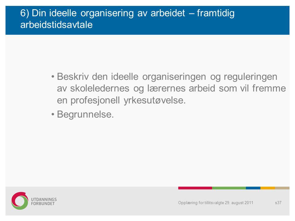 6) Din ideelle organisering av arbeidet – framtidig arbeidstidsavtale
