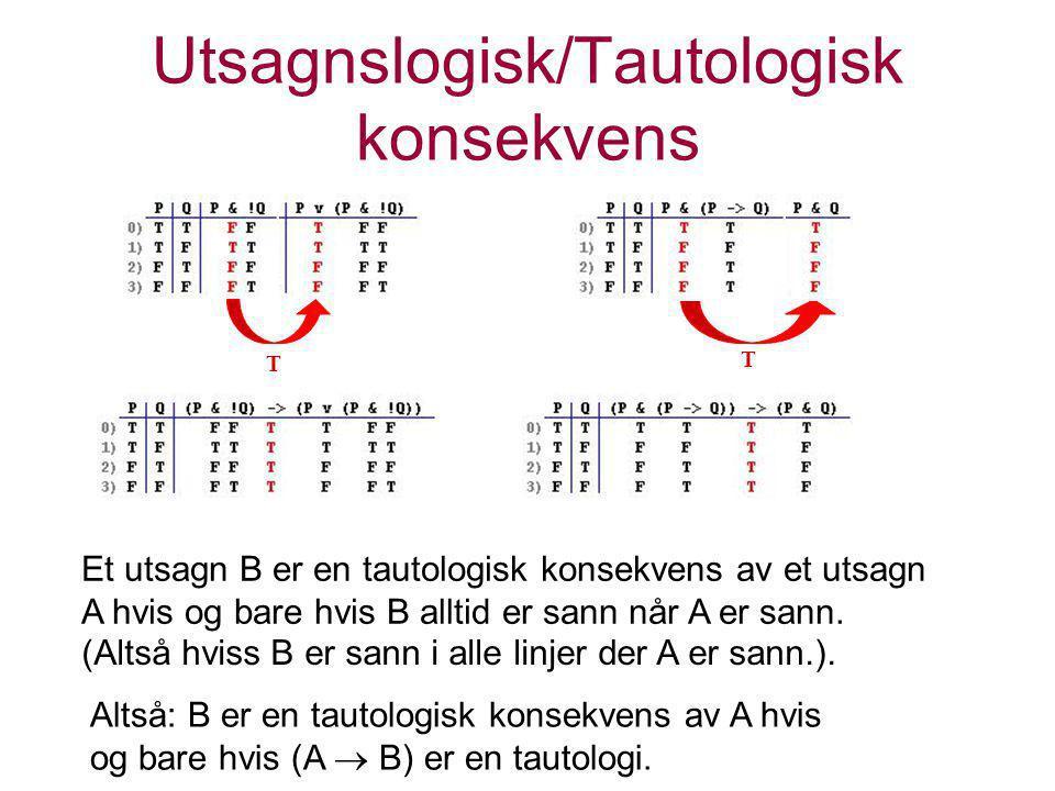 Utsagnslogisk/Tautologisk konsekvens