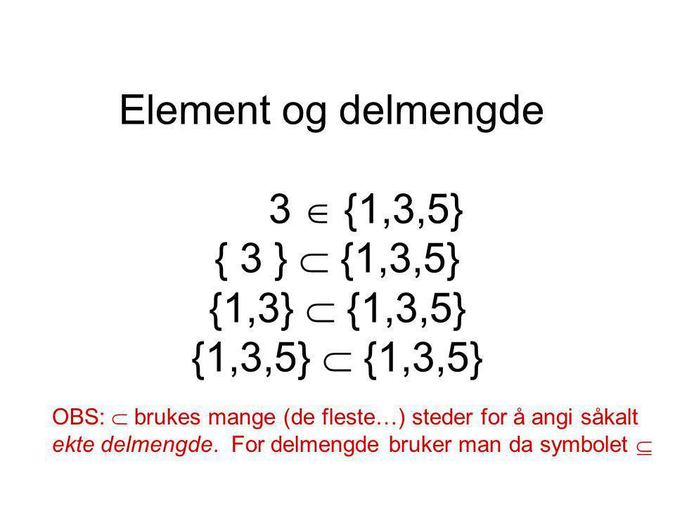 Element og delmengde 3  {1,3,5} { 3 }  {1,3,5} {1,3}  {1,3,5} {1,3,5}  {1,3,5}